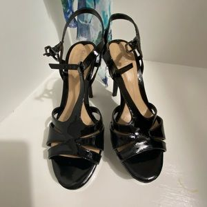 Gianni Bono black patent platform shoes